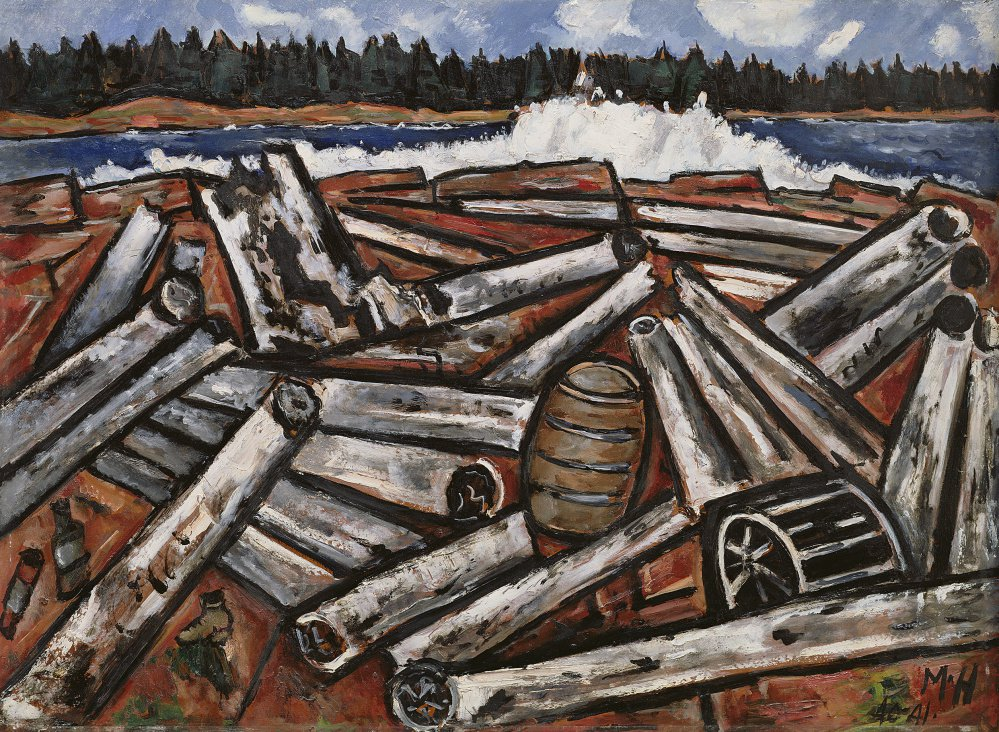 """Log Jam, Penobscot Bay,"" by Marsden Hartley, oil on masonite, 1940-41."