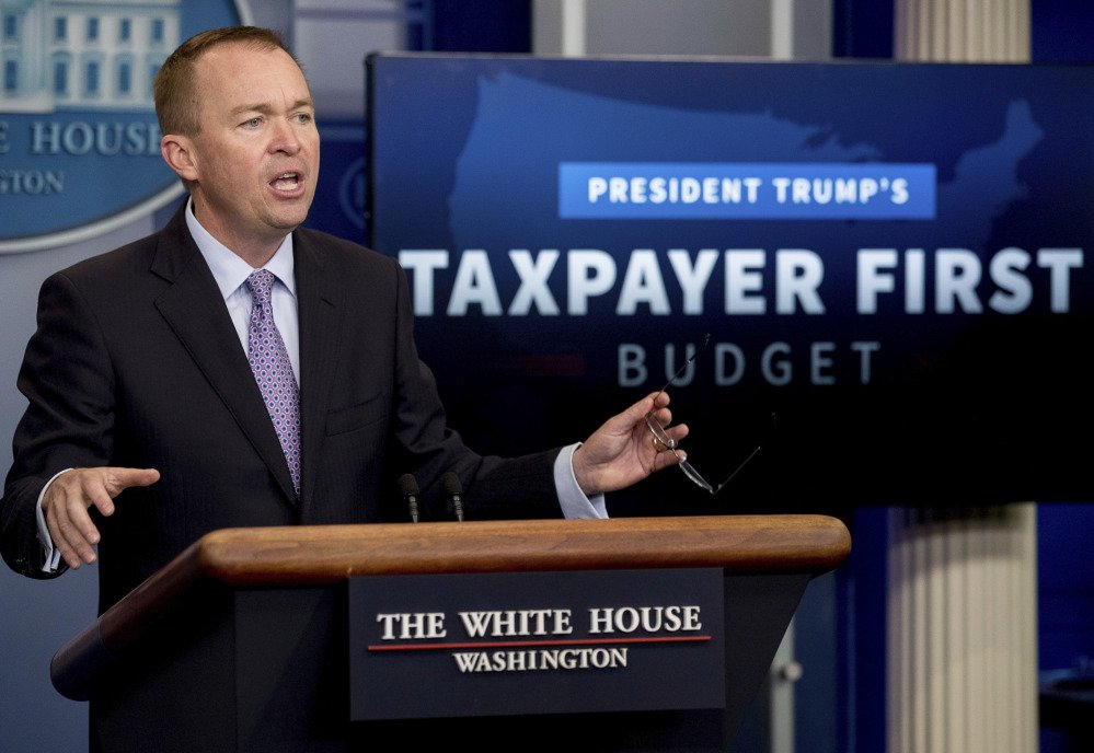 Budget Director Mick Mulvaney speaks to the media about President Trump's proposed fiscal 2018 federal budget at the White House on Tuesday.