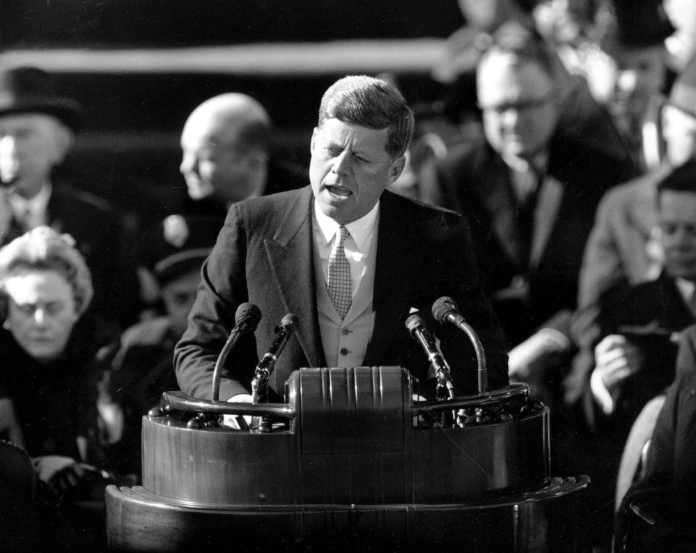 President Kennedy delivers his inaugural address on Jan. 20, 1961. Associated Press file