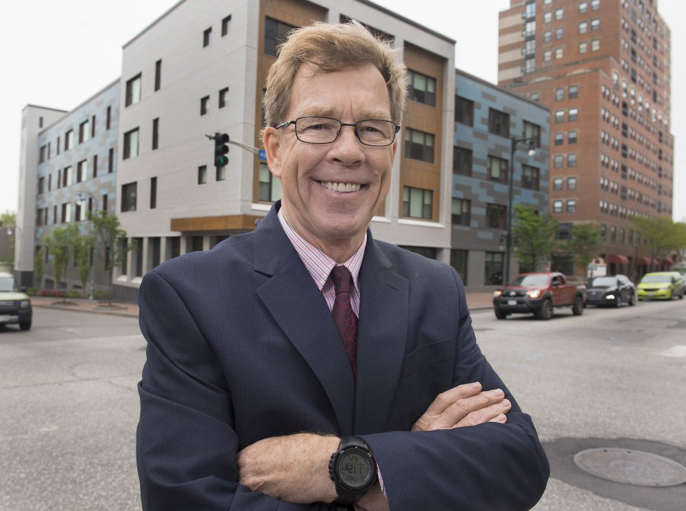 Dana Totman, president and CEO of Avesta Housing, believes that NIMBYism is a serious deterrent to economic growth and affordable housing in the state. He's standing in front of one of Avesta's projects on Cumberland Avenue in Portland.