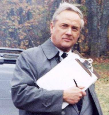 "Dr. Henry F. Ryan, a longtime Maine chief medical examiner, is shown on the set of the movie ""Thinner,"" in which he played a bit part as a medical examiner."