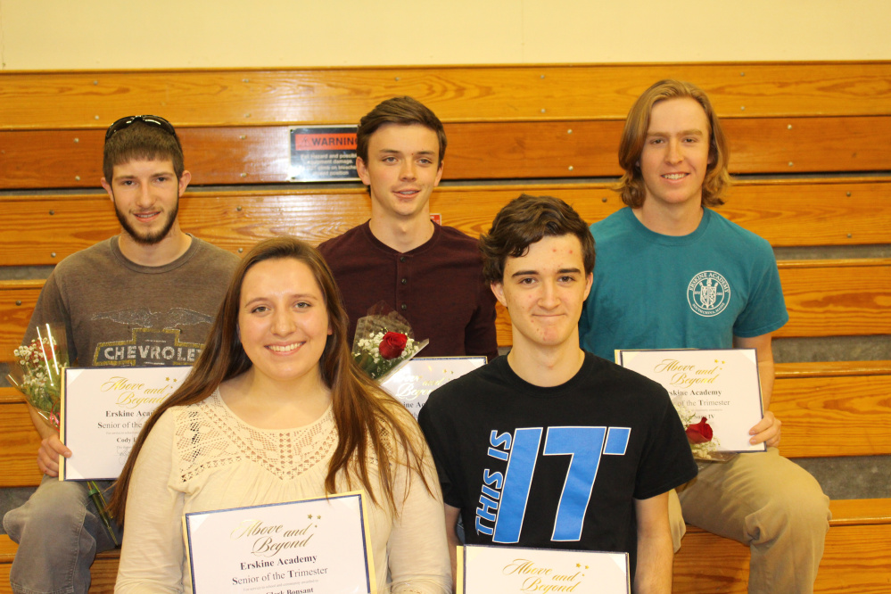 Seniors of the Trimester in front, from left, are Ally Clark Bonsant and Justin Harris; in back, from left, are Cody Elsemore, Gabriel Gervais and William Sugg IV.