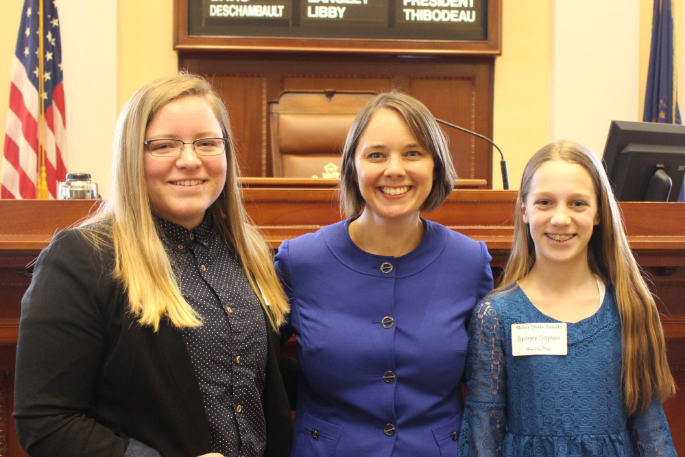 Gardiner students Savannah Green and Sydney Dayken served as honorary pages April 6 in the Maine Senate in Augusta. From left are Green, Sen. Shenna Bellows, D-Manchester, and Dayken.