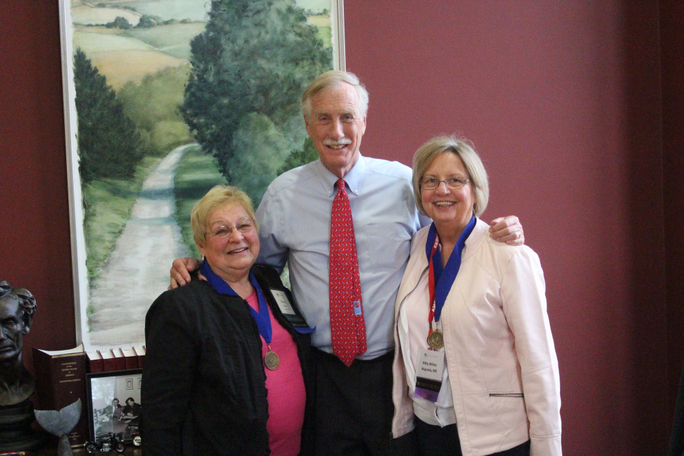 Contributed photo U.S. Sen. Angus King, I-Maine, center, recently met with Kitty White, left, and Theresa Cloutier, both of Augusta. White is the 2017 Maine Mother of the Year, and was in Washington representing Maine for the Mother of the Year Award at the American Mothers Inc. National Convention. Cloutier was the 2015 Maine Mother of the Year.