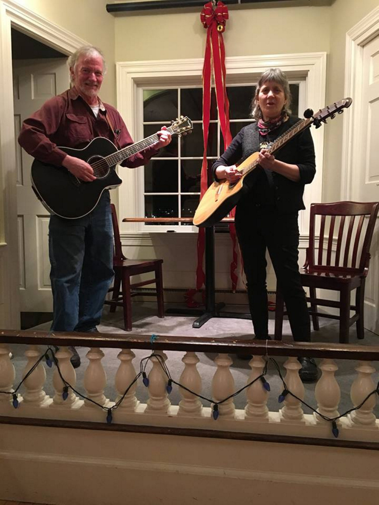 Contributed photo John Couch and Sylvia Tavares, organizers of the Damariscotta Open Mic, playing at a prior open mic.