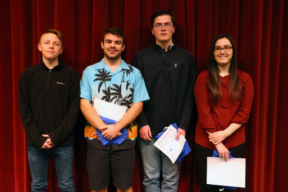 Messalonskee High School recently announced its April Students of the Month. From left are Travis Hosea, Garrett Fisher, Jacob Dexter and Sarah Martin.