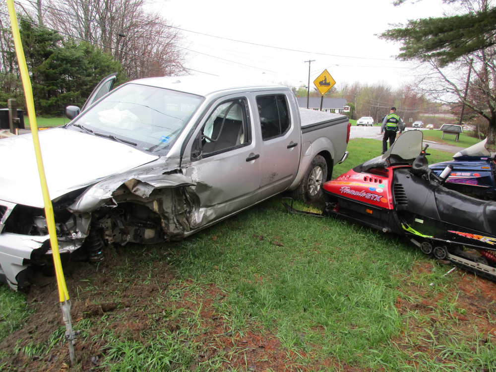 The driver of this 2014 Nissan pickup truck suffered minor facial injuries Tuesday morning in a crash in Newport.