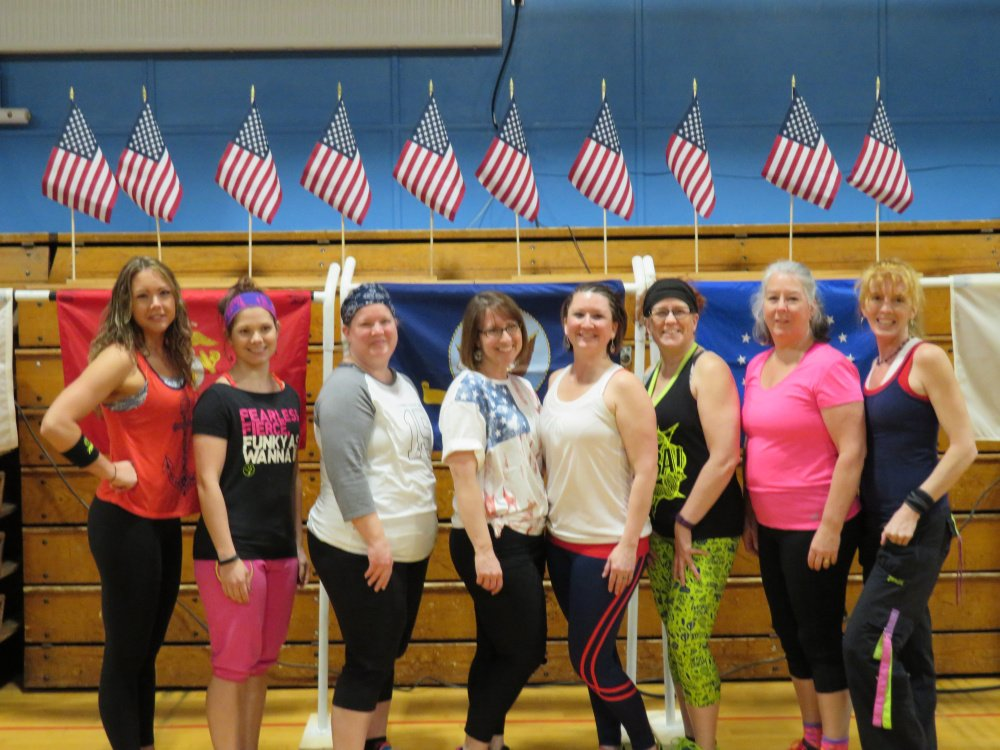 The eight instructors who led the two-hour Zumba-Thon fundraiser, included, from left, Christine Marie, Hillary White, Lisa Berry, Allison Marcoux, Tiara Nile, organizer; Lisa Doyon, Denise Delorie and Suzanne Lamb.