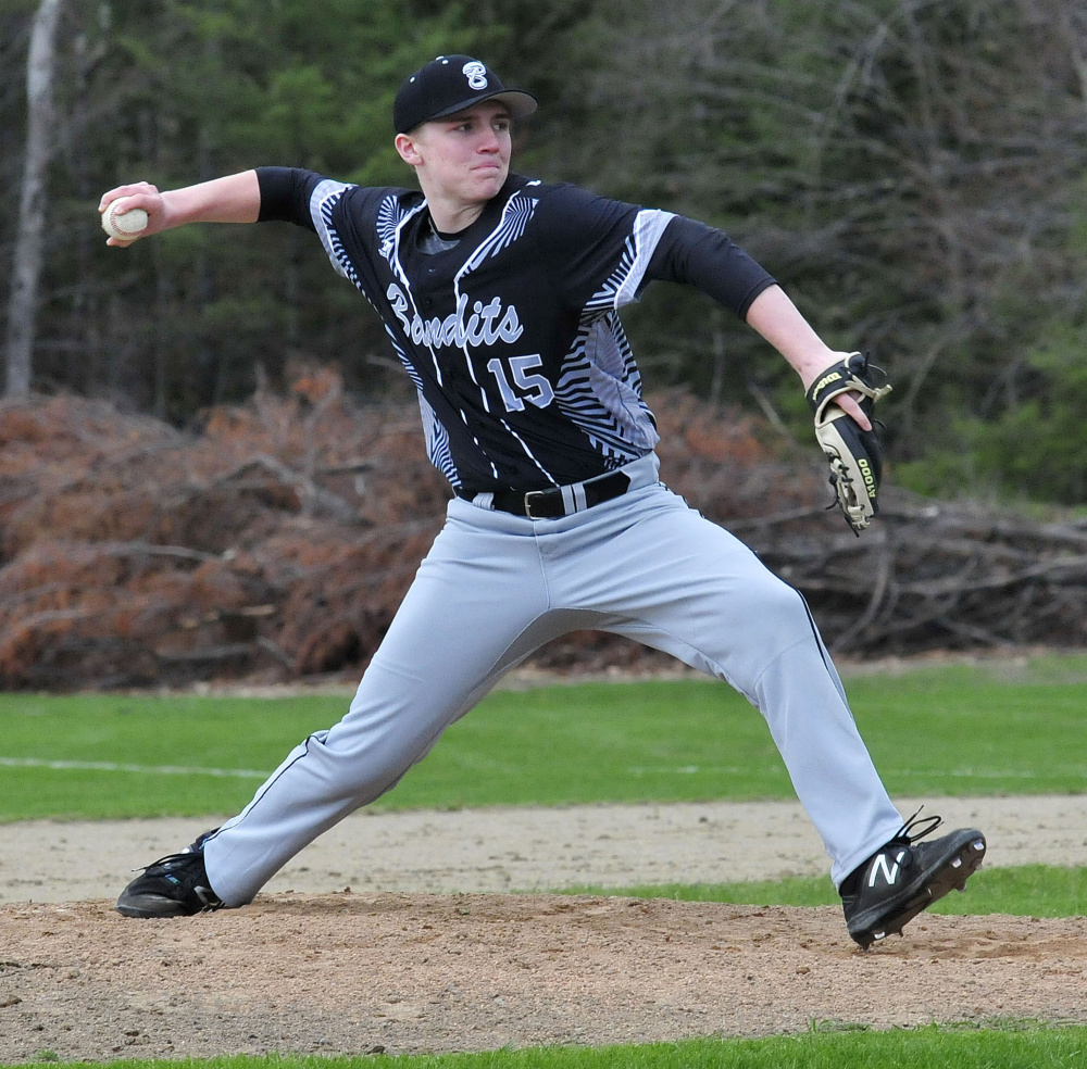 Bridgeway's Evan Holzworth pitches against Oak Hill on Wednesday in North Anson.