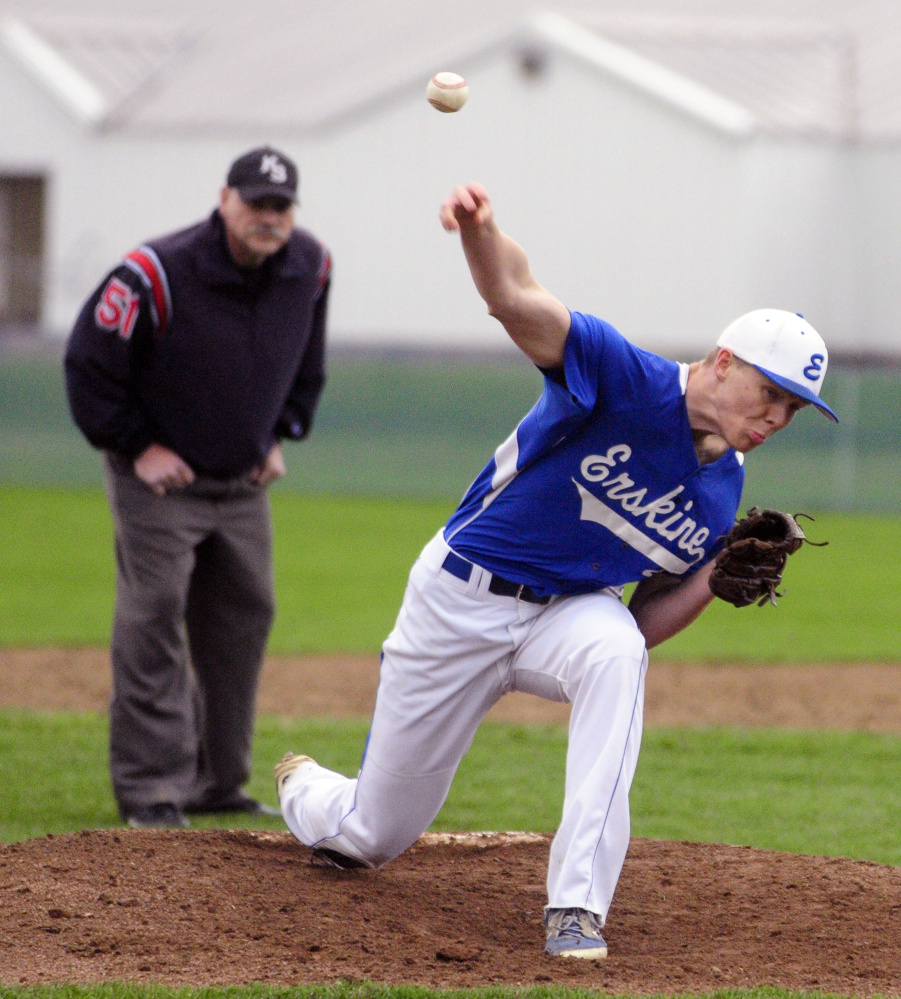 Staff photo by Joe Phelan Erskine's Noah Bonsant throws a pitch against Maranacook on Wednesday in South China.