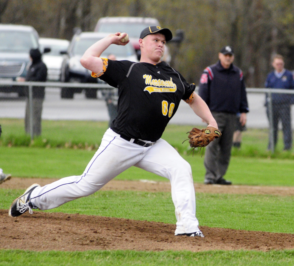 Staff photo by Joe Phelan   Maranacook's Dan Garand throws a pitch against Erskine on Wednesday in South China.