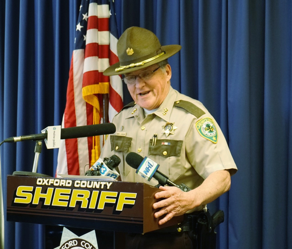 Oxford County Sheriff Wayne J. Gallant speaks to reporters Thursday in announcing that deceased TV weatherman Tom Johnston was the lone suspect in a reported sexual assault in Newry.