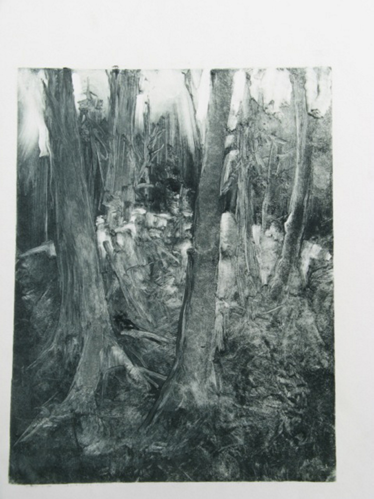 Nina Bohlen, My Woods, oil monotype, 2011