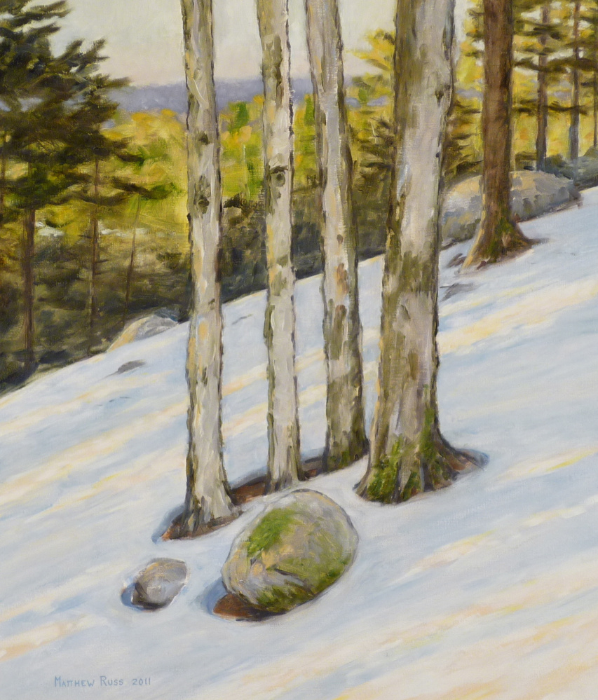 Matt Russ, Winter on Mount Phillips, oil on canvas.
