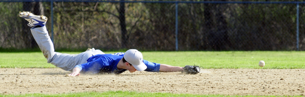 Valley shortstop Nathan Ames dives but can't get to the ball during a game against Richmond on Thursday in Richmond.