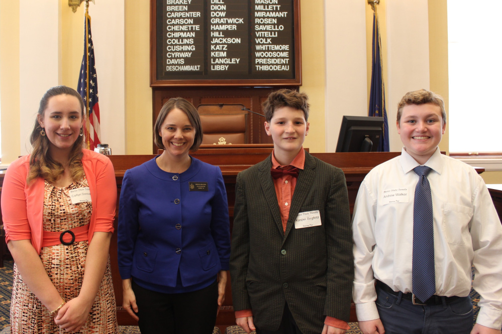 Gardiner and Hall-Dale students Kasper Birgfeld, Caitlyn Donovan and Andrew Walker served as honorary pages April 13 in the Maine Senate. From left are Caitlyn, Bellows, Kasper and Andrew.
