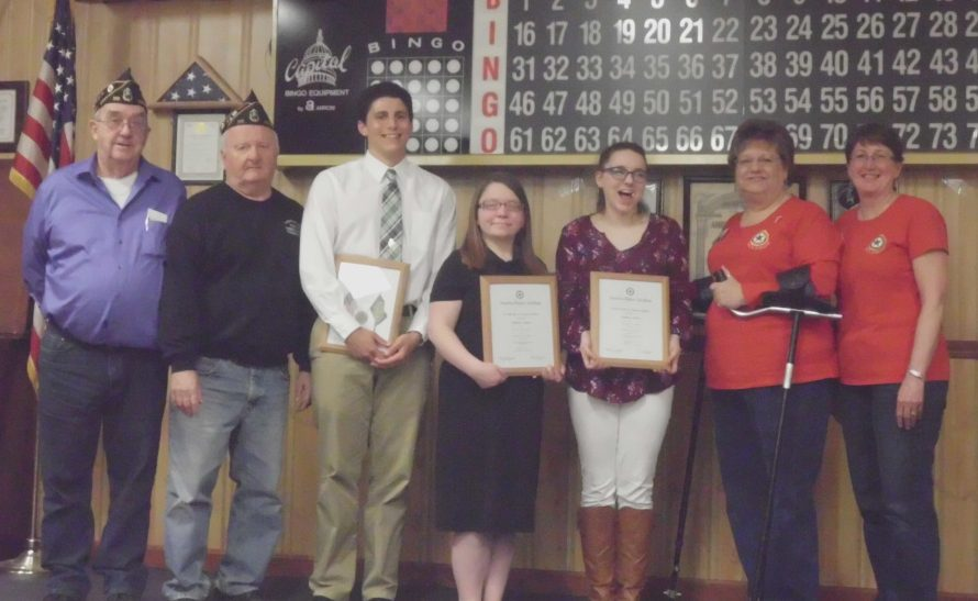 Madison American Legion and Auxiliary 39 recently recognized the Dirigo Boys and Girls State delegates from Carrabec and Madison Area Memorial high schools. From left are Ralph Withee, commander; John Bryant, Boys State chairman; Paul Kaplan, delegate from Carrabec High School; Mariah Langton, delegate from Carrabec High School; Jasmine Moody, delegate from Madison Area Memorial High School; Robin Turek, president; and Harriet Bryant, Girl State chairwoman.