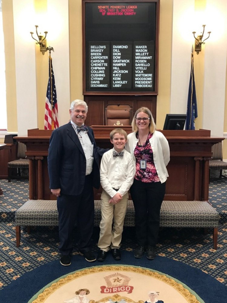 For Take Our Daughters and Sons to Work Day on April 27, Marietta Wheeler, of Belgrade, brought her son, Jayme, to Augusta to join her for the day at the Department of Administrative and Financial Services Sen. From left are Rep. Tom Saviello, R-Wilton, Jayme and Marietta Wheeler.