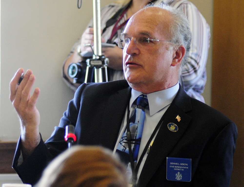 Then-Rep. Dennis L. Keschl, R-Belgrade, asks a question in 2014 during a meeting of the Appropriations and Financial Affairs committee with the Health and Human Services committee at the State House in Augusta.