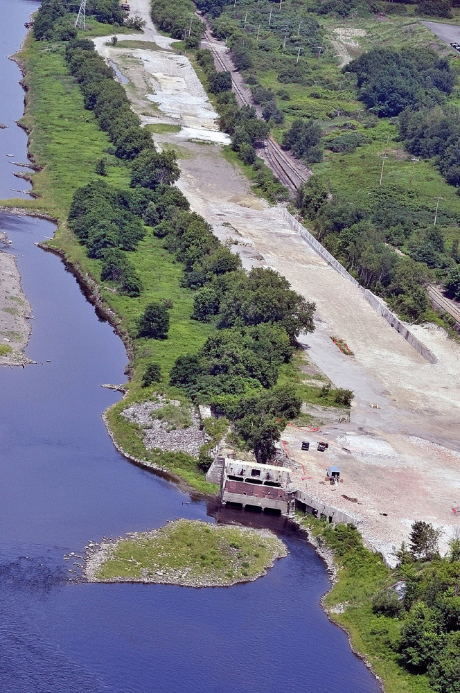 This July 2010 aerial view shows the site where a paper mill used to be on the east side of Kennebec River in Augusta. The site was home to Statler Tissue and American Tissue and is currently called Kennebec Lockes by the city, which hopes to entice developers to the area.