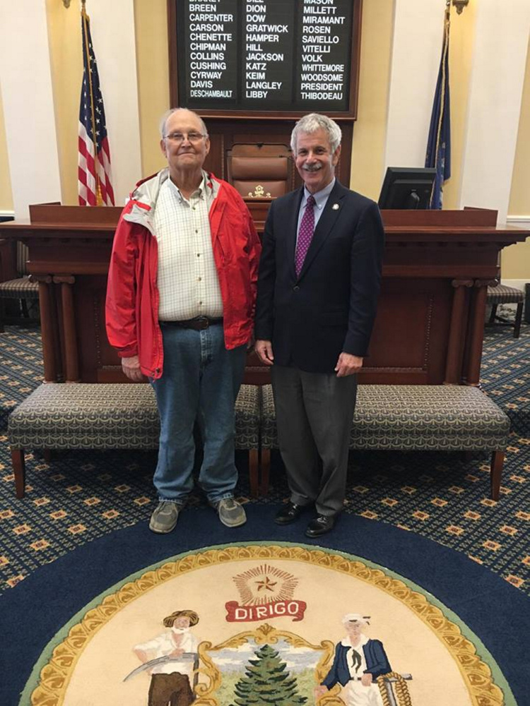 The Maine Senate confirmed James Whitten, of Augusta, to the board of Maine State Housing Authority on April 27. Whitten, left, appears with Sen. Roger Katz, R-Augusta.