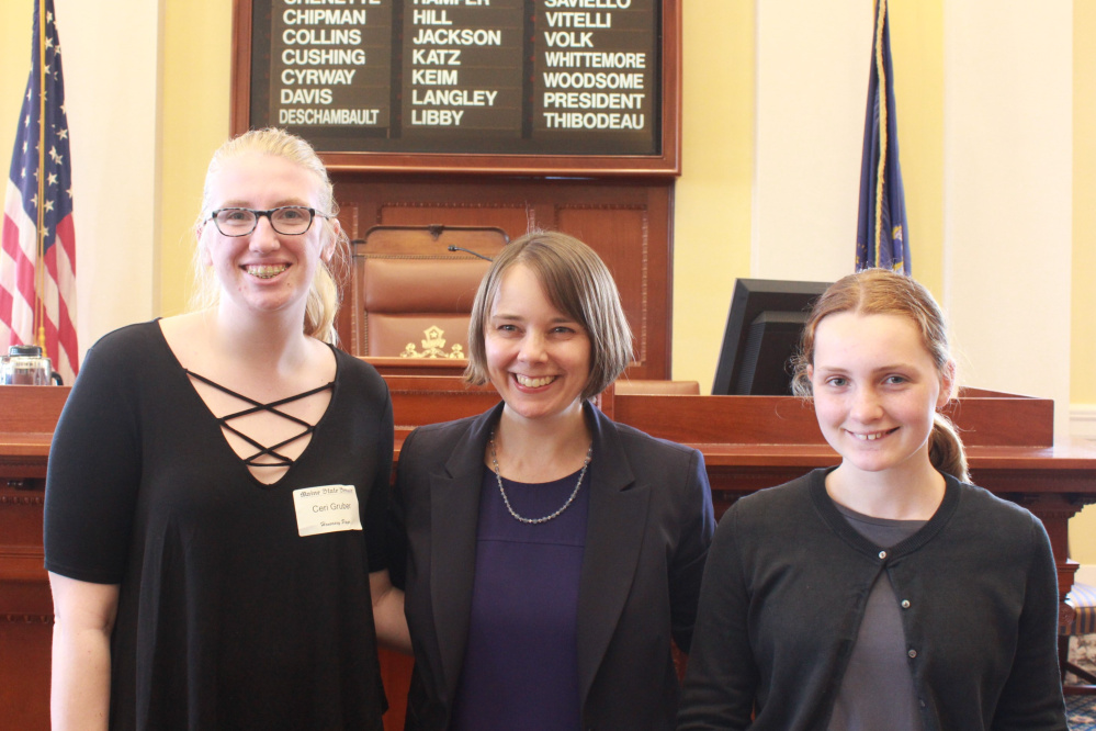Ceri Gruber, a student at Gardiner Regional Middle School, spent April 20 with Sen. Shenna Bellows, D-Manchester, and Devyn Shaughnessy, Bellow's job shadow. Gruber also served as a honorary page in the Maine Senate.