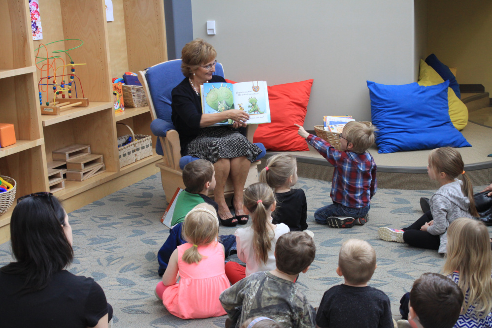 Maine's First Lady Ann LePage read to students at Educare Central Maine last week.
