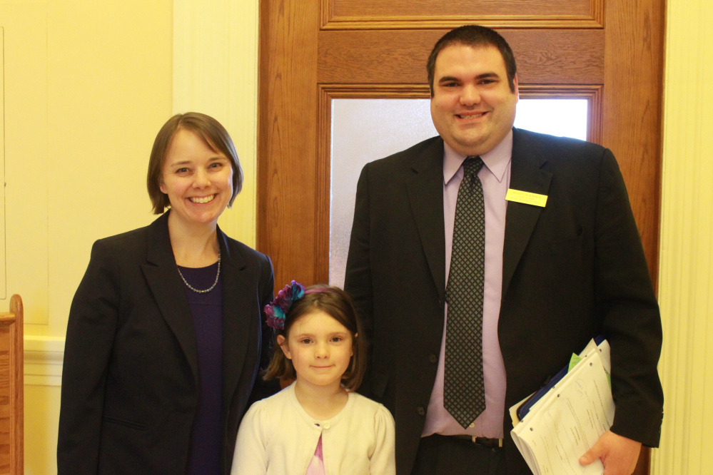 Readfield Elementary School student Annalise Roderick served as an honorary page on April 20 in the Maine Senate. From left are Sen. Shenna Bellows, Annalise Roderick and Shawn Roderick.
