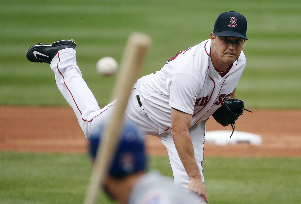 Boston knuckleballer Steven Wright pitches during the first inning of a game against the Chicago Cubs in Boston on April 29.