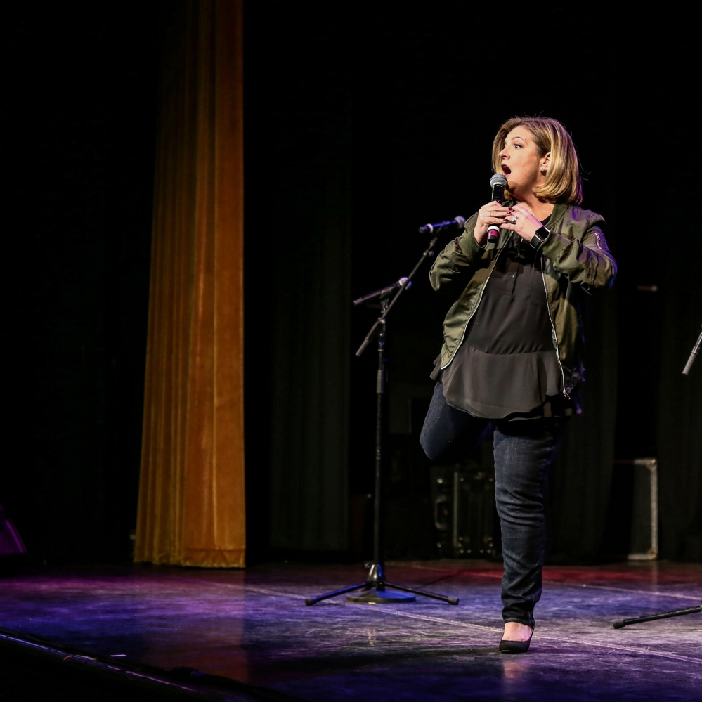 Winthrop native Kelly MacFarland, shown during a recent performance in Massachusetts, will be back in Maine on Saturday to perform as part of a comedy show fundraiser for the Winthrop High School class of 2021.