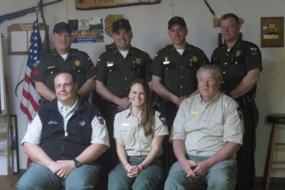 The Wilton Fish & Game Association recently held its annual appreciation event for several Maine game wardens and biologists. In front, from left, are Regional Wildlife Biologist Bob Cordes, Regional Fisheries Biologist Elizabeth Thorndike and Regional Wildlife Biologist Chuck Hulsey. In back, from left, are Warden Sgt. Scott Thrasher, Warden Brock Clukey, Warden Kyle Hladik and Warden Scott Stevens.