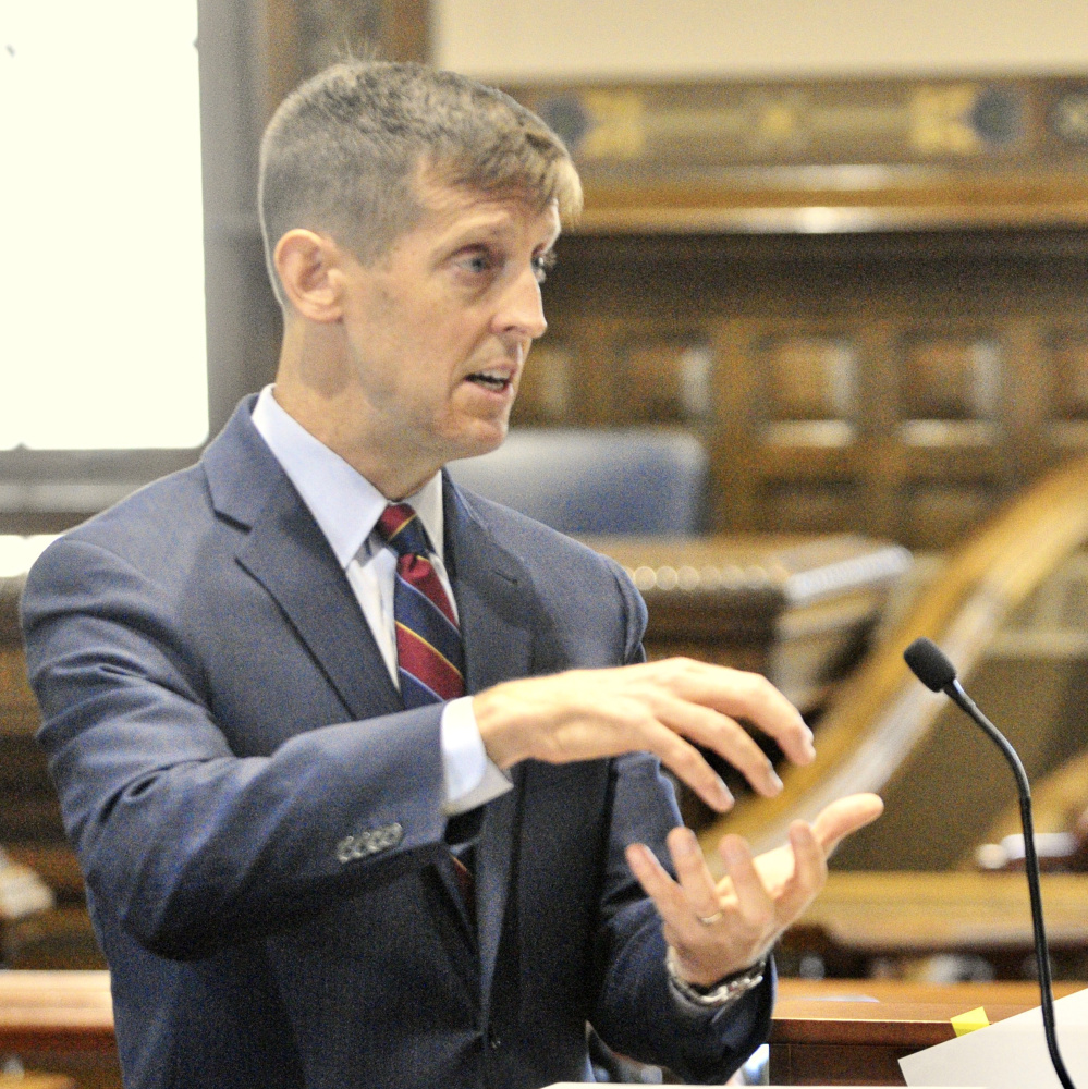 Augusta attorney Walter McKee argues Wednesday on behalf of former Anson Treasurer Claudia Viles, who was convicted in 2016 of stealing more than $500,000 from the town. McKee, who presented his arguments before the Maine Supreme Judicial Court, argued that the state did not provide enough evidence at trial to support the conviction.