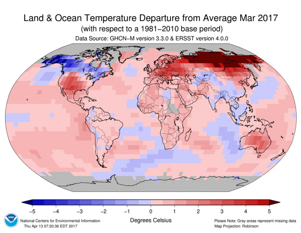 This graphic shows how temperature have increased in many places on Earth.