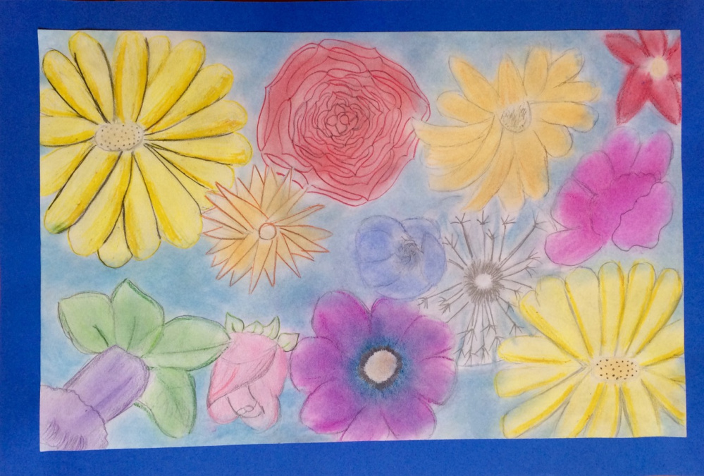 """May Flowers,"" colored pencil on paper by Jewel Farrin, Grade eight, Bristol Consolidated School."
