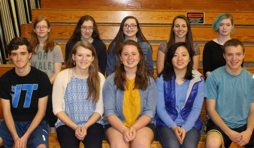 Erskine Academy top 10 seniors for 2017, in front, from left, are valedictorian Justin Harris, salutatorian Audrey Jordan, Hannah Burns, Jessica Zhang and Seth Allen. Back, from left, are Veronica Black, Beth Bowring, Emma Cote, Keeley Gomes and Morgan Savage.