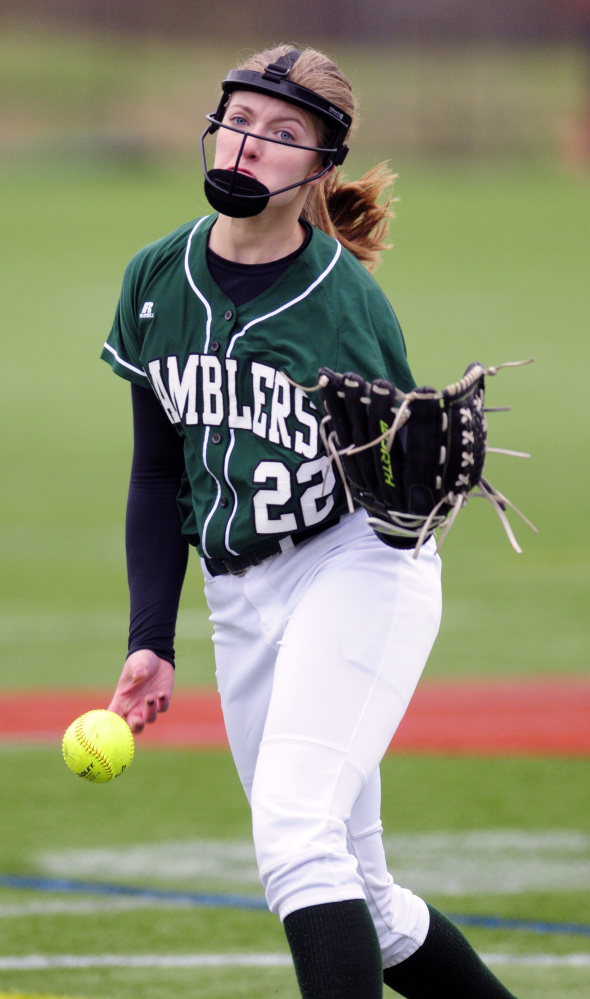 Winthrop pitcher Layne Audet throws during a game against Monmouth Academy at Kents Hill School on Tuesday.