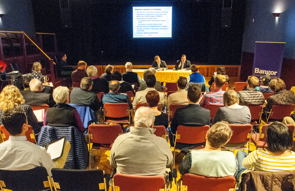 "Jeff Levine, city of portland planning & urban development director, and attorney Ted Kelleher were on the first panel to present on Friday during the ""Marijuana on Main Street"" event sponsored by Maine Downtown Center in Johnson Hall in Gardiner."