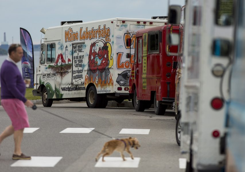 Food trucks, shown here in 2016 at Fort Allen Park in Portland, will pull into Gardiner's Waterfront Park Saturday for a Food Truck Festival.