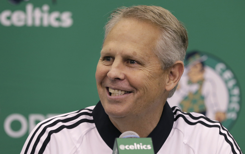 Boston Celtics President of Basketball Operations Danny Ainge speaks during a news conference in Waltham, Mass. The Celtics are trying to go from No. 1 seed to No. 1 pick.