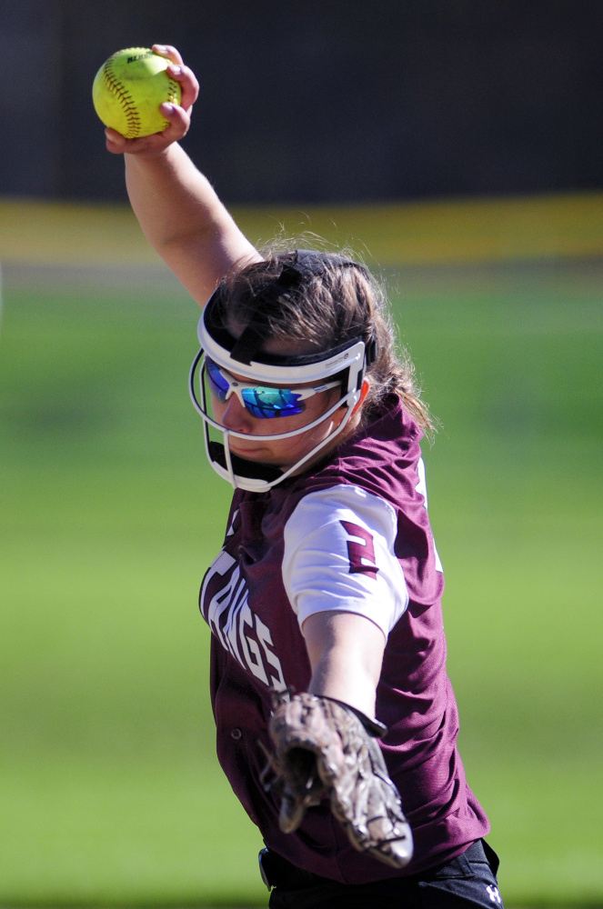 Monmouth pitcher Emily Chasse throws during a game against Carrabec on Tuesday in Monmouth.