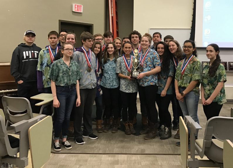 The Waterville Senior High School Science Olympiad team at the state meet April 1 at University of Southern Maine in Gorham