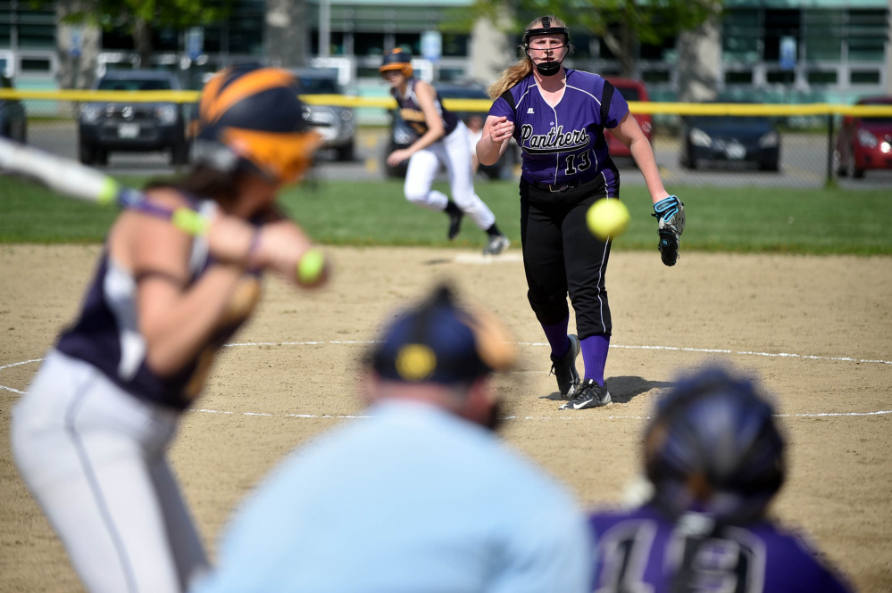 Waterville senior Madison Clowes pitches against Medomak in the first inning Wednesday in Waterville.