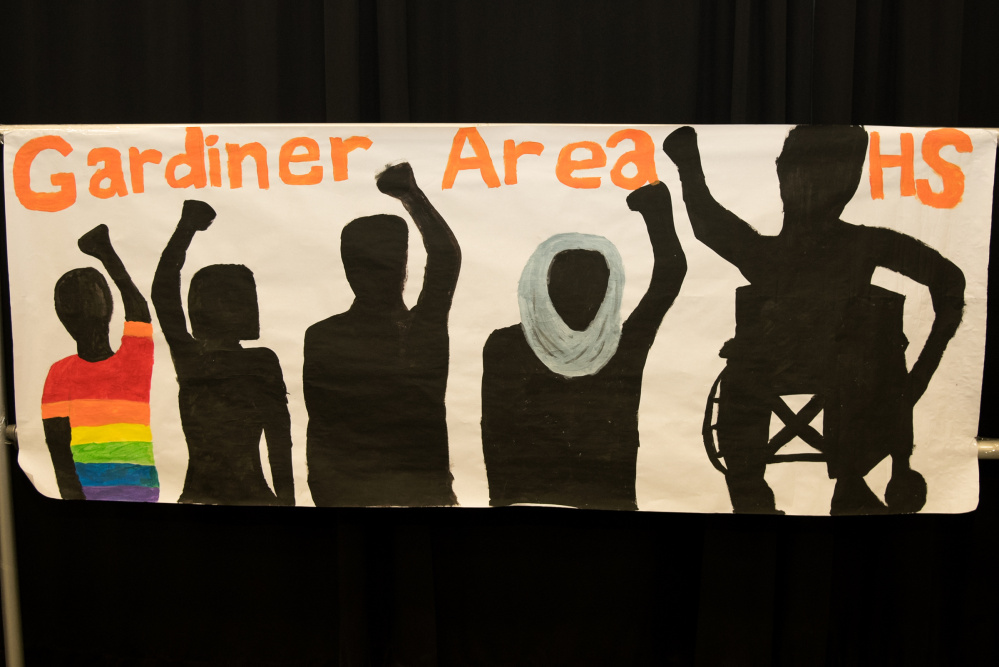 The team from Gardiner Area High School created this banner on display at the Civil Rights Team Project Statewide Conference held Monday in Augusta. The Civil Rights Team Project is to increase the safety of elementary, middle, and high school students by reducing bias-motivated behaviors and harassment in schools.