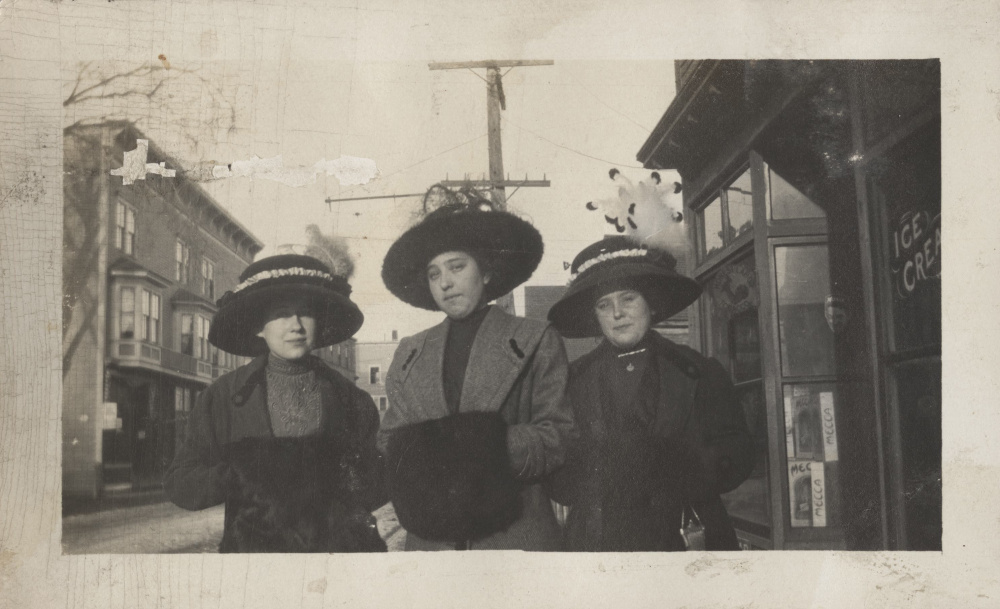 Women with Hats and Muffs, Clara Picher (center), Picher Family Collection, Colby Special Collections.