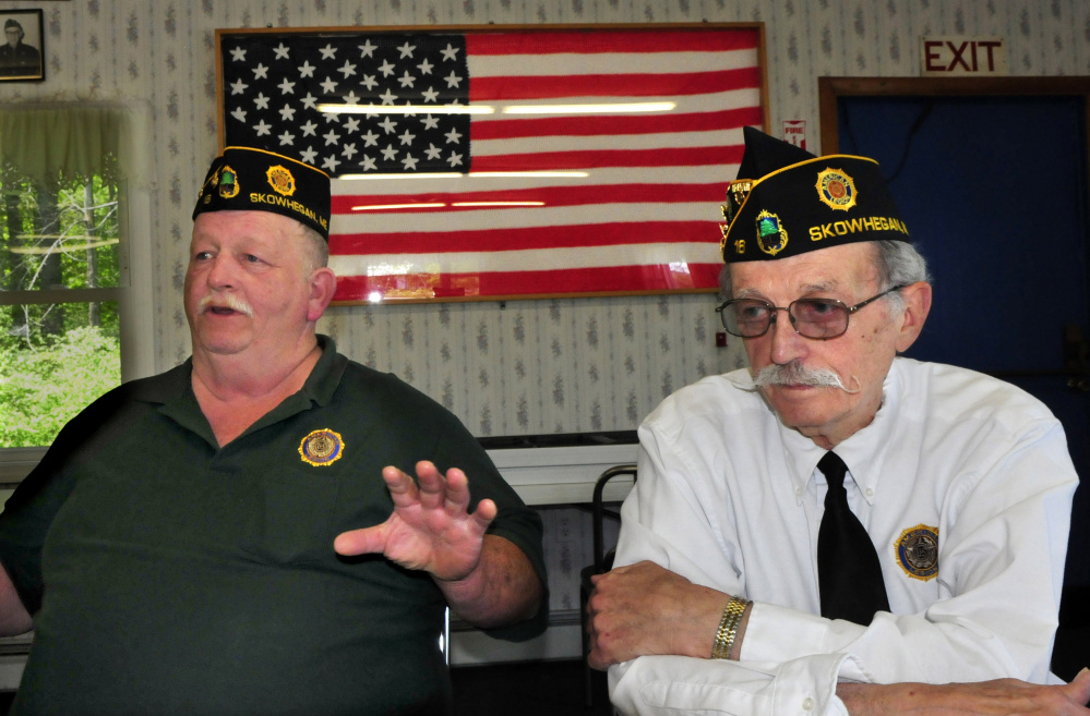 American Legion Post 16 Commander Steven Spaulding, left, and Adjutant Bob Mercer speak about the need to recruit new members at the Legion hall in Skowhegan on Sunday.