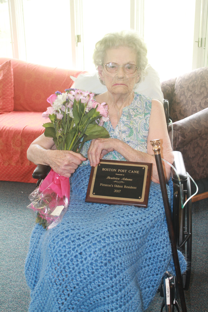 Beatrice Adams recently was presented the town's Boston Post Cane.