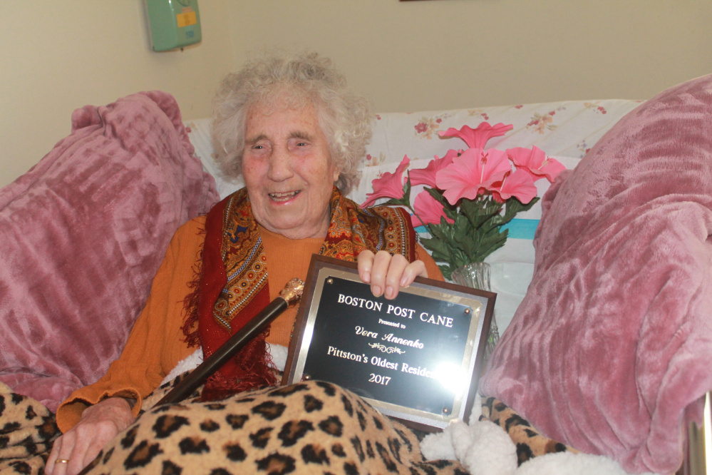 Verna Annenko recently was presented Pittston's Boston Post Cane.