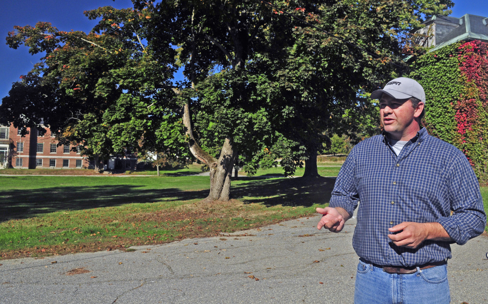Developer Matt Morrill talks during a tour on Oct. 7, 2016, at Stevens Commons in Hallowell, where the city plans to build a new fire station.