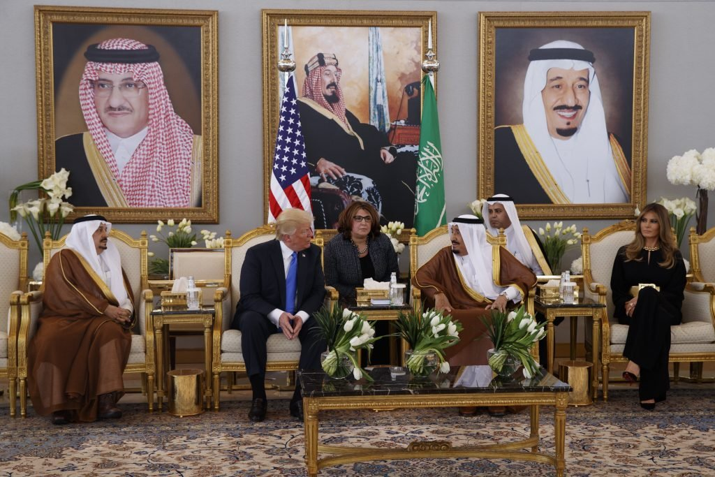 President Trump meets with Saudi King Salman after a welcome ceremony at the Royal Terminal of King Khalid International Airport on Saturday in Riyadh.