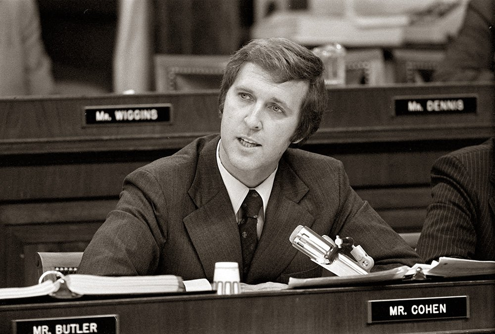 Then-Rep. William Cohen, R-Maine, states  his position on the impeachment of then-President Richard Nixon during a House Judiciary Committee debate on July 25, 1974.